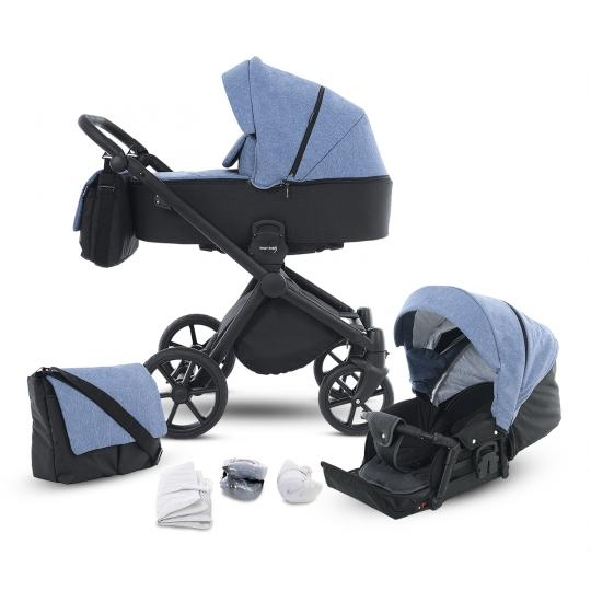 Kombi-Kinderwagen Life+ 2.0 Black Edition, Jeansblau-Schwarz
