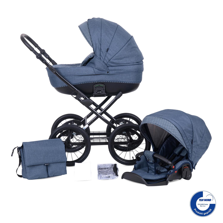 knorr baby gmbh kombi kinderwagen kreta blau mit punkten online kaufen. Black Bedroom Furniture Sets. Home Design Ideas