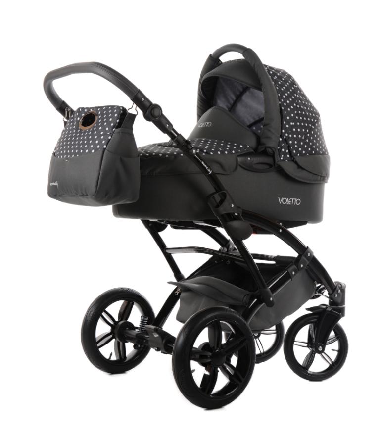 knorr baby gmbh kombi kinderwagen komplettset voletto tupfen set 3 in 1 grau wei online. Black Bedroom Furniture Sets. Home Design Ideas